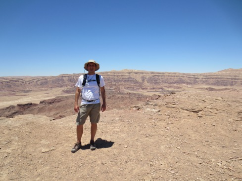 On Mt. Timna. That's a heart-stopping sheer drop just behind me...
