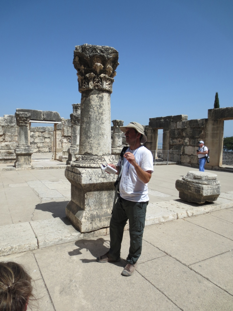 Discussing Mark 3:1-6 at the Synagogue in Capernaum